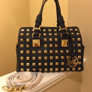 Michael Kors Grayson Navy Blue Studded Bag